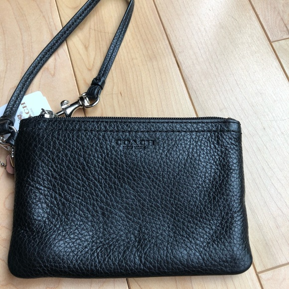 Coach Handbags - COACH -black leather wristlet